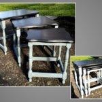 Tables d'appoint gigogne grises et blanches