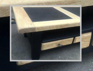 table basse relookée chêne