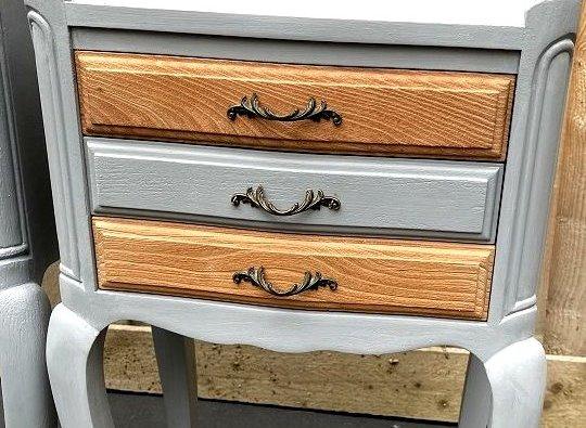 table de chevet tioirs bois brut et gris
