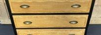 commode en chêne brut et peinture noire