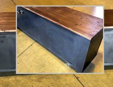 Meuble TV casier métal et bois